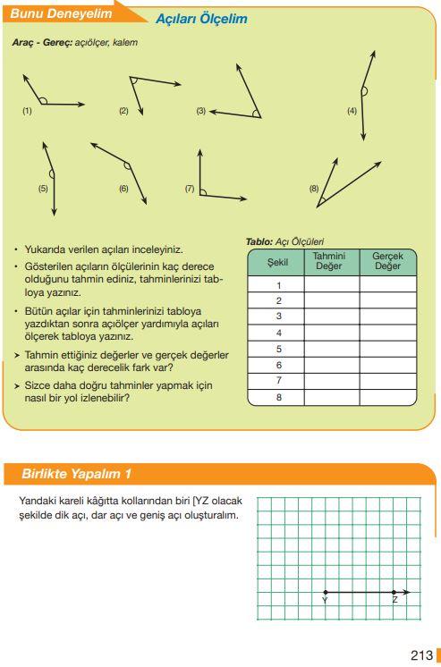 5. Sınıf Matematik Ders Kitabı Çözümleri ve Cevapları Sayfa 213 MEB Yayınları