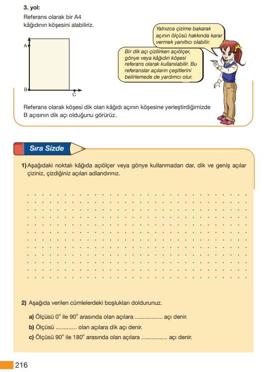 5. Sınıf Matematik Ders Kitabı Çözümleri ve Cevapları Sayfa 216 MEB Yayınları