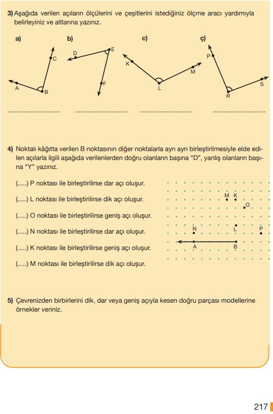 5. Sınıf Matematik Ders Kitabı Çözümleri ve Cevapları Sayfa 217 MEB Yayınları
