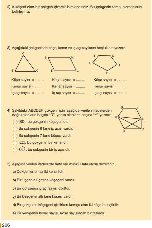 5. Sınıf Matematik Ders Kitabı Çözümleri ve Cevapları Sayfa 226 MEB Yayınları
