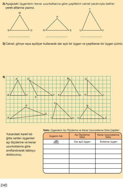 5. Sınıf Matematik Ders Kitabı Çözümleri ve Cevapları Sayfa 240 MEB Yayınları