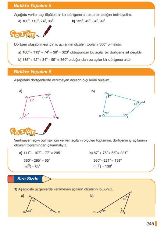 5. Sınıf Matematik Ders Kitabı Çözümleri ve Cevapları Sayfa 245 MEB Yayınları
