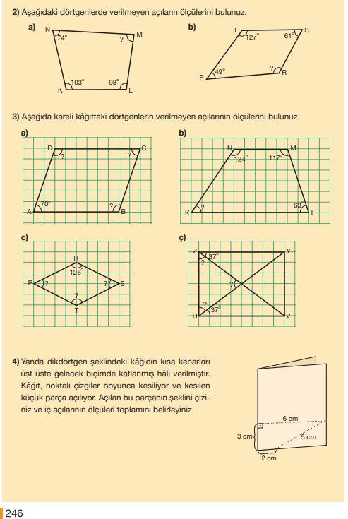 5. Sınıf Matematik Ders Kitabı Çözümleri ve Cevapları Sayfa 246 MEB Yayınları