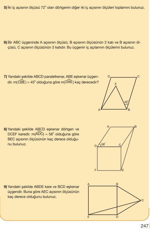 5. Sınıf Matematik Ders Kitabı Çözümleri ve Cevapları Sayfa 247 MEB Yayınları