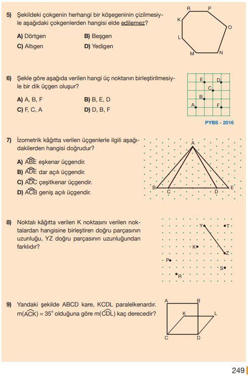 5. Sınıf Matematik Ders Kitabı Çözümleri ve Cevapları Sayfa 249 MEB Yayınları