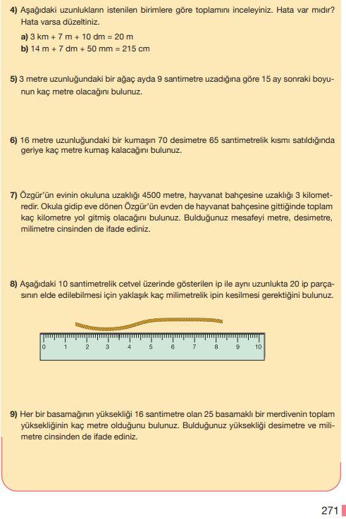 5. Sınıf Matematik Ders Kitabı Çözümleri ve Cevapları Sayfa 271 MEB Yayınları