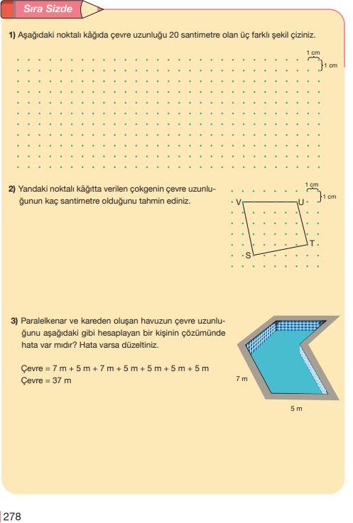 5. Sınıf Matematik Ders Kitabı Çözümleri ve Cevapları Sayfa 278 MEB Yayınları