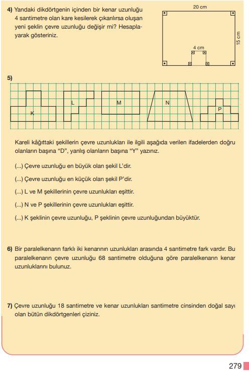 5. Sınıf Matematik Ders Kitabı Çözümleri ve Cevapları Sayfa 279 MEB Yayınları