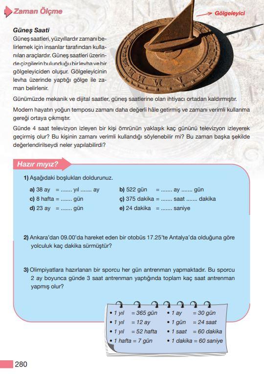 5. Sınıf Matematik Ders Kitabı Çözümleri ve Cevapları Sayfa 280 MEB Yayınları