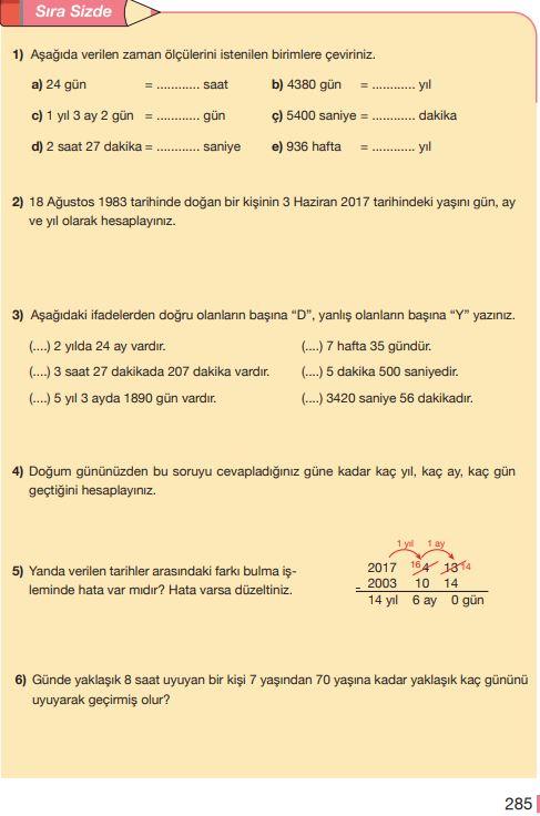 5. Sınıf Matematik Ders Kitabı Çözümleri ve Cevapları Sayfa 285 MEB Yayınları