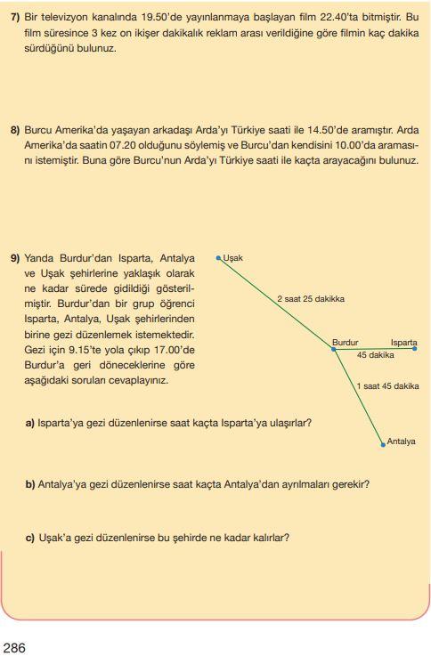 5. Sınıf Matematik Ders Kitabı Çözümleri ve Cevapları Sayfa 286 MEB Yayınları