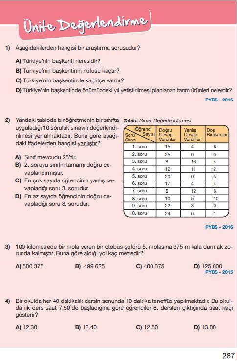 5. Sınıf Matematik Ders Kitabı Çözümleri ve Cevapları Sayfa 287 MEB Yayınları