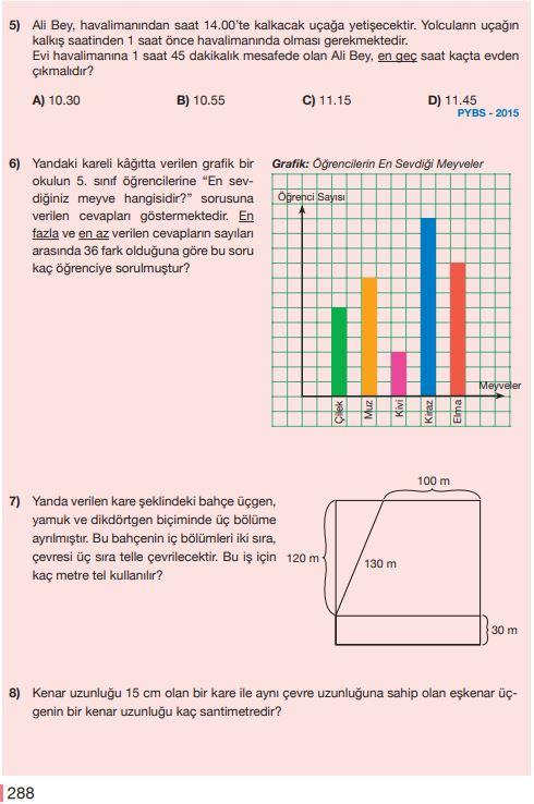 5. Sınıf Matematik Ders Kitabı Çözümleri ve Cevapları Sayfa 288 MEB Yayınları