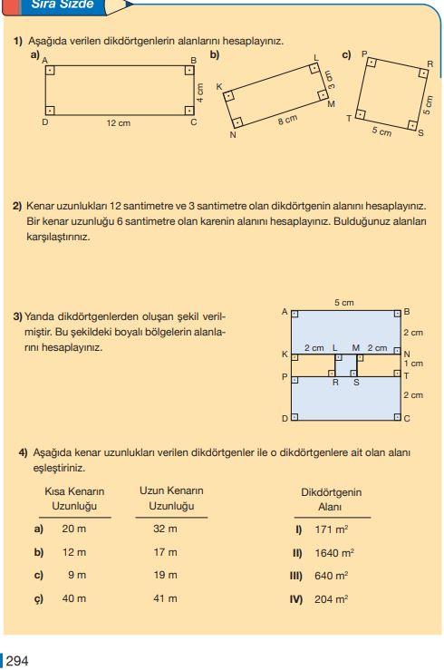 5. Sınıf Matematik Ders Kitabı Çözümleri ve Cevapları Sayfa 294 MEB Yayınları