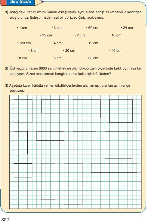 5. Sınıf Matematik Ders Kitabı Çözümleri ve Cevapları Sayfa 302 MEB Yayınları