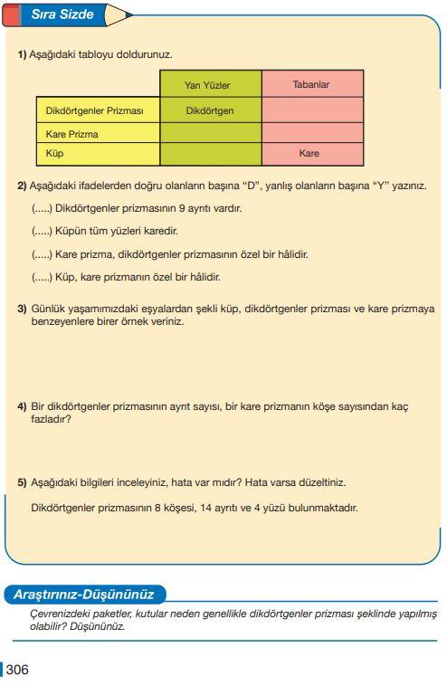 5. Sınıf Matematik Ders Kitabı Çözümleri ve Cevapları Sayfa 306 MEB Yayınları