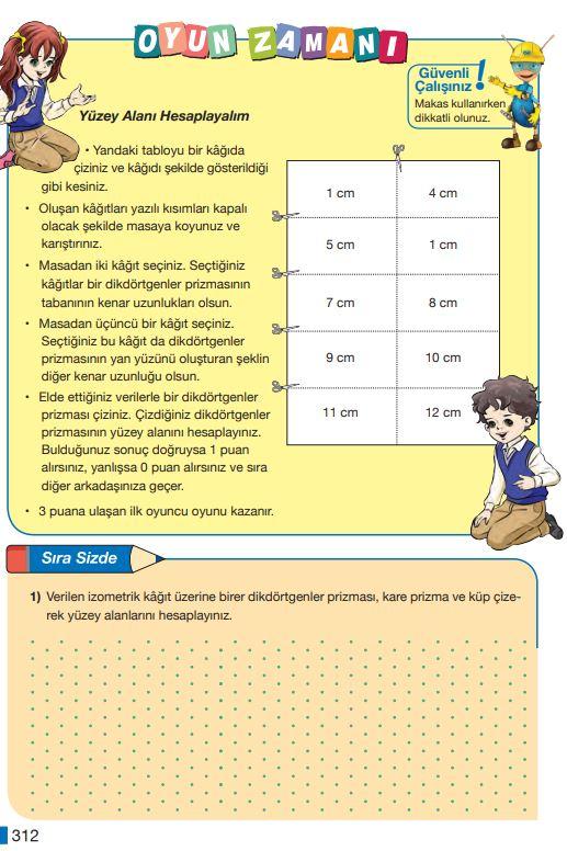 5. Sınıf Matematik Ders Kitabı Çözümleri ve Cevapları Sayfa 312 MEB Yayınları