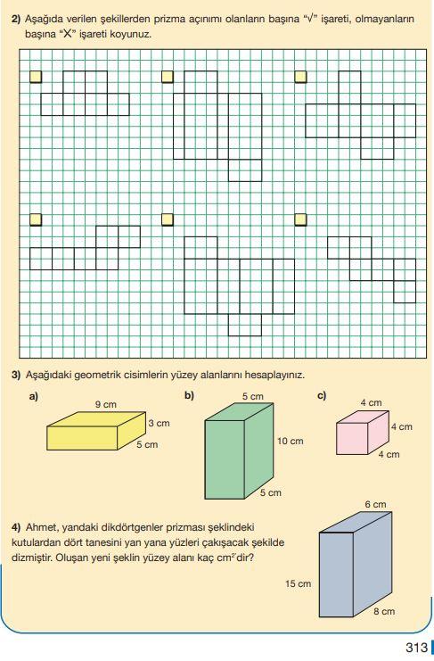 5. Sınıf Matematik Ders Kitabı Çözümleri ve Cevapları Sayfa 313 MEB Yayınları