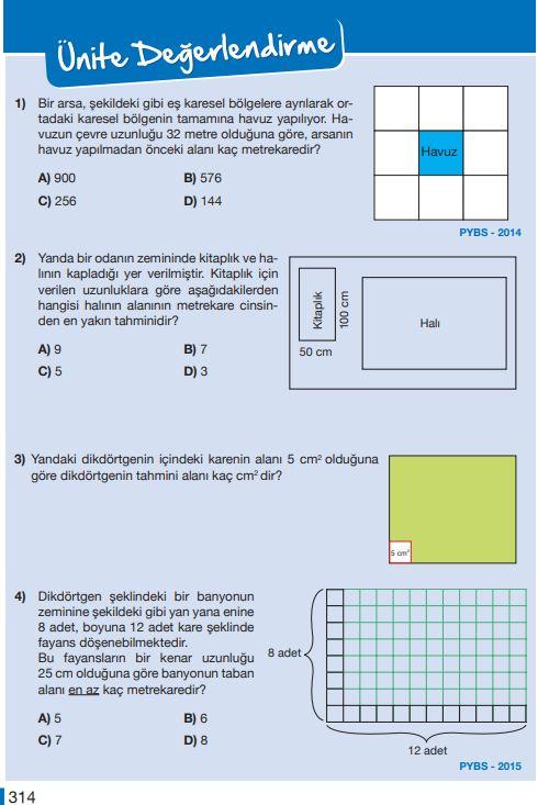5. Sınıf Matematik Ders Kitabı Çözümleri ve Cevapları Sayfa 314 MEB Yayınları