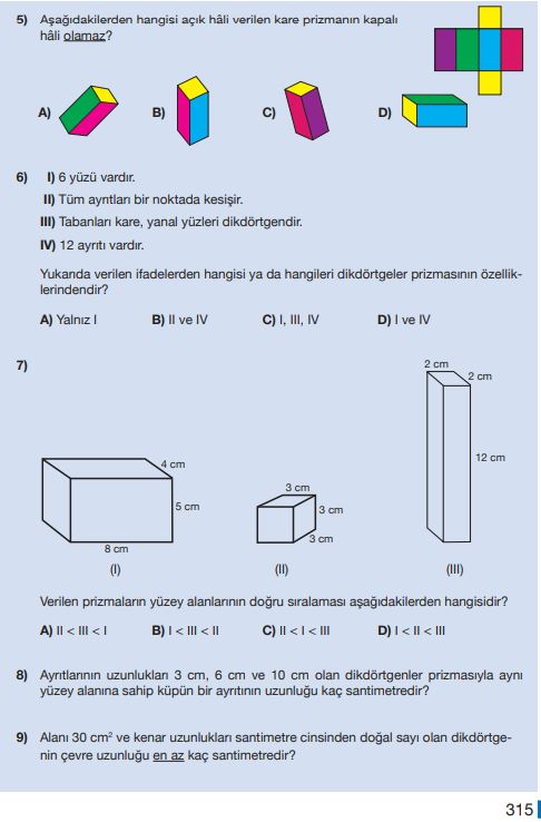 5. Sınıf Matematik Ders Kitabı Çözümleri ve Cevapları Sayfa 315 MEB Yayınları