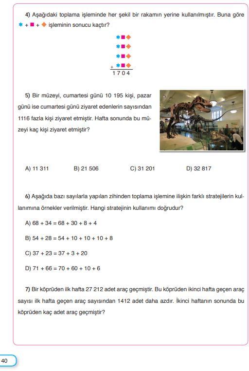 5. Sınıf Matematik Ders Kitabı Çözümleri ve Cevapları Sayfa 40 SDR Dikey Yayınları