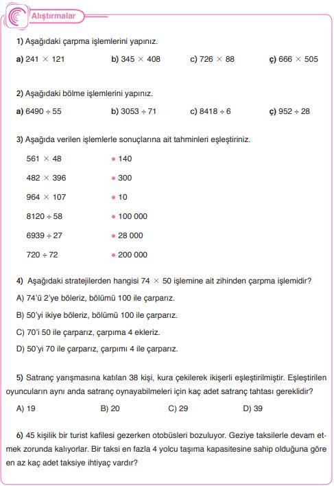 5. Sınıf Matematik Ders Kitabı Çözümleri ve Cevapları Sayfa 60 SDR Dikey Yayınları