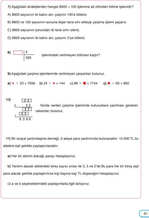 5. Sınıf Matematik Ders Kitabı Çözümleri ve Cevapları Sayfa 61 SDR Dikey Yayınları