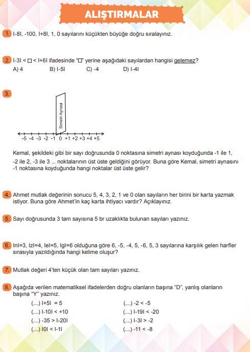 6. Sınıf Matematik Ders Kitabı Çözümleri ve Cevapları Sayfa 104 MEB Yayınları