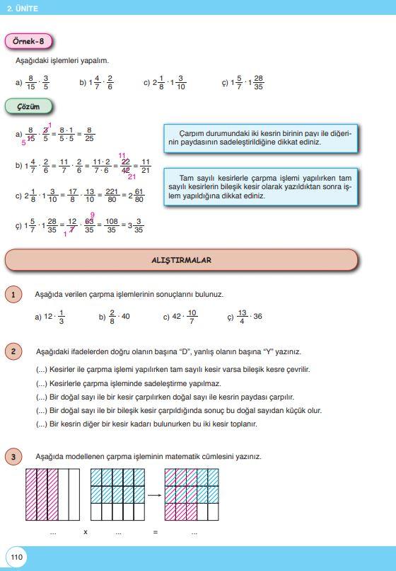 6. Sınıf Matematik Ders Kitabı Çözümleri ve Cevapları Sayfa 110 Öğün Yayınları