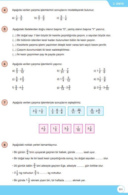6. Sınıf Matematik Ders Kitabı Çözümleri ve Cevapları Sayfa 111 Öğün Yayınları