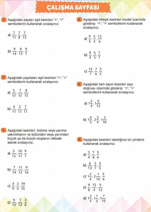 6. Sınıf Matematik Ders Kitabı Çözümleri ve Cevapları Sayfa 112 MEB Yayınları