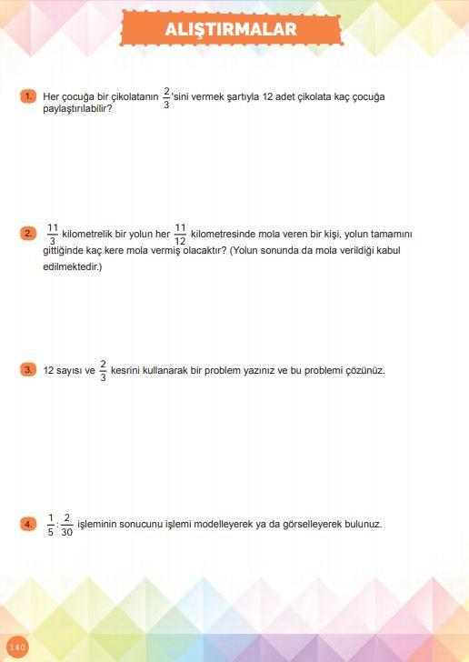 6. Sınıf Matematik Ders Kitabı Çözümleri ve Cevapları Sayfa 140 MEB Yayınları