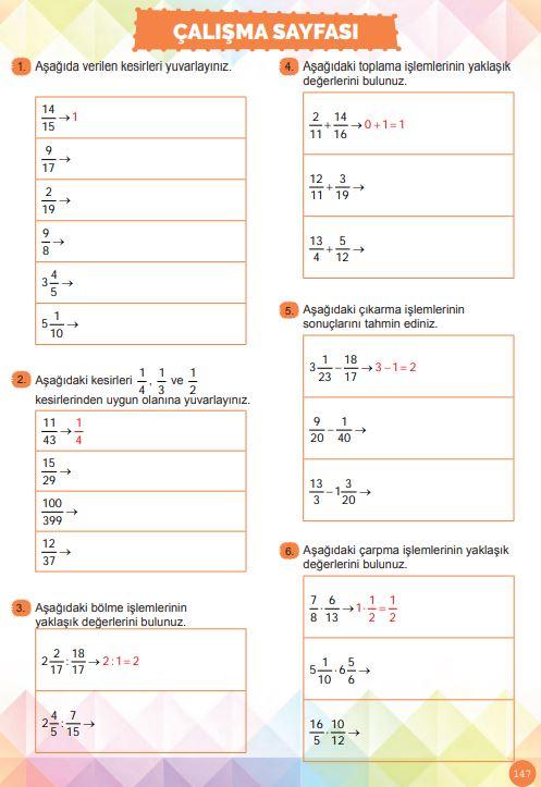 6. Sınıf Matematik Ders Kitabı Çözümleri ve Cevapları Sayfa 147 MEB Yayınları