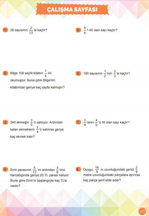 6. Sınıf Matematik Ders Kitabı Çözümleri ve Cevapları Sayfa 153 MEB Yayınları