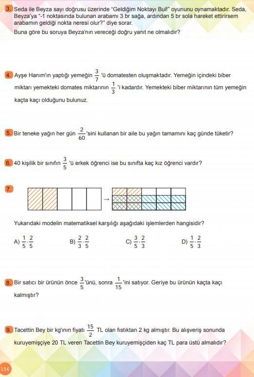 6. Sınıf Matematik Ders Kitabı Çözümleri ve Cevapları Sayfa 156 MEB Yayınları