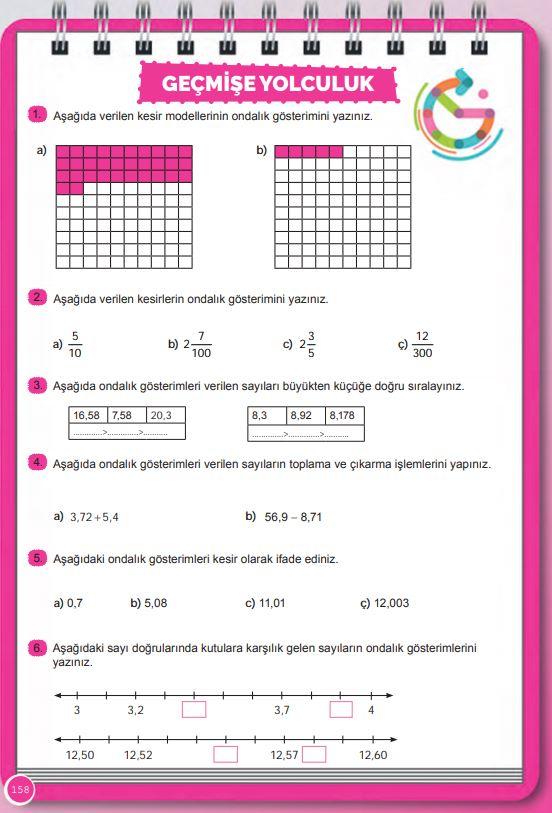 6. Sınıf Matematik Ders Kitabı Çözümleri ve Cevapları Sayfa 158 MEB Yayınları