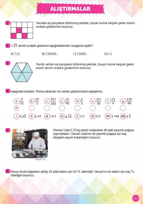 6. Sınıf Matematik Ders Kitabı Çözümleri ve Cevapları Sayfa 163 MEB Yayınları