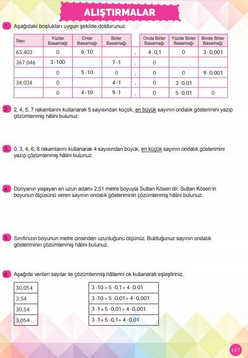 6. Sınıf Matematik Ders Kitabı Çözümleri ve Cevapları Sayfa 167 MEB Yayınları