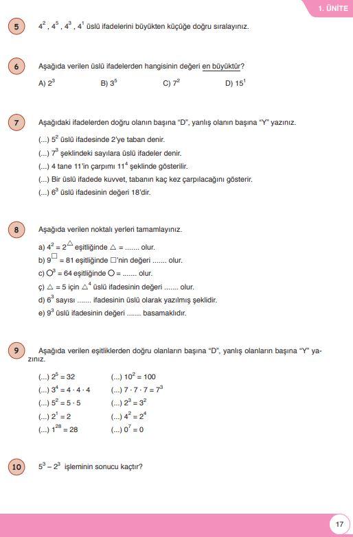 6. Sınıf Matematik Ders Kitabı Çözümleri ve Cevapları Sayfa 17 Öğün Yayınları