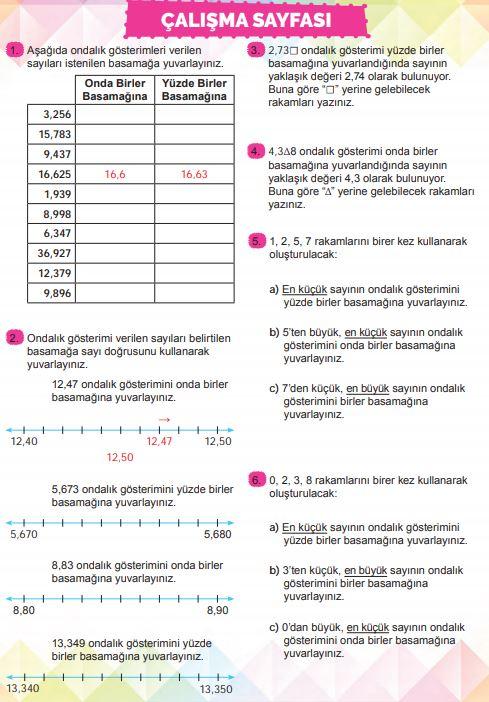 6. Sınıf Matematik Ders Kitabı Çözümleri ve Cevapları Sayfa 170 MEB Yayınları