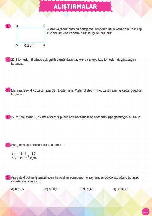6. Sınıf Matematik Ders Kitabı Çözümleri ve Cevapları Sayfa 179 MEB Yayınları