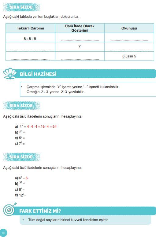 6. Sınıf Matematik Ders Kitabı Çözümleri ve Cevapları Sayfa 18 MEB Yayınları