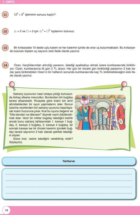 6. Sınıf Matematik Ders Kitabı Çözümleri ve Cevapları Sayfa 18 Öğün Yayınları