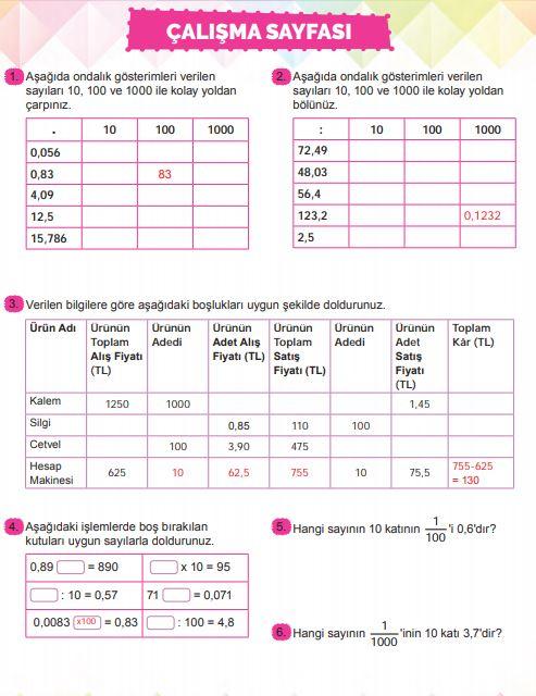 6. Sınıf Matematik Ders Kitabı Çözümleri ve Cevapları Sayfa 182 MEB Yayınları