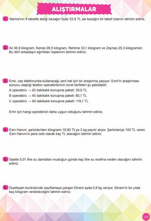 6. Sınıf Matematik Ders Kitabı Çözümleri ve Cevapları Sayfa 185 MEB Yayınları