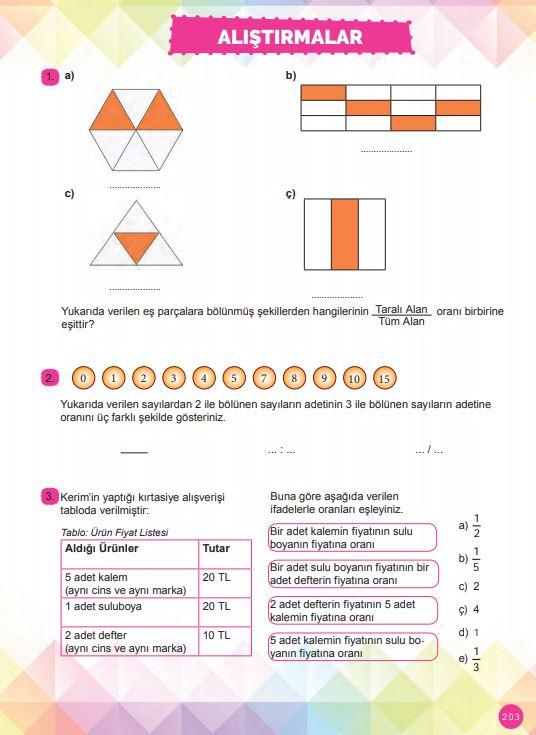6. Sınıf Matematik Ders Kitabı Çözümleri ve Cevapları Sayfa 203 MEB Yayınları