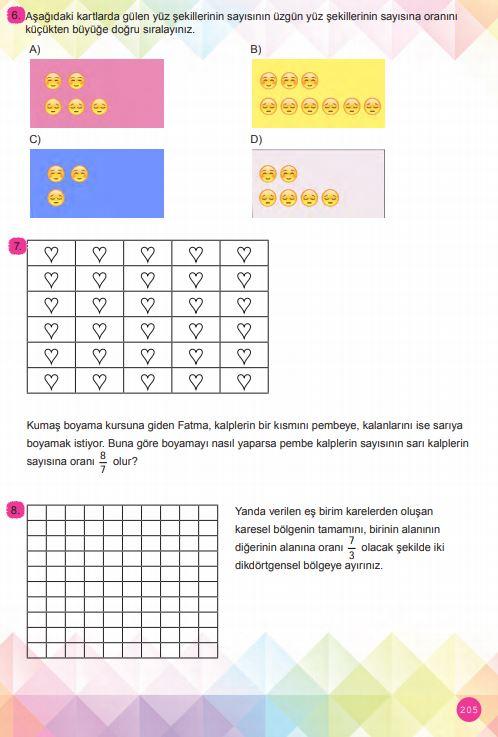 6. Sınıf Matematik Ders Kitabı Çözümleri ve Cevapları Sayfa 205 MEB Yayınları