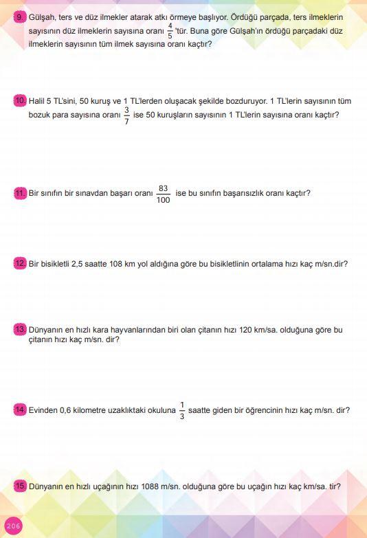 6. Sınıf Matematik Ders Kitabı Çözümleri ve Cevapları Sayfa 206 MEB Yayınları