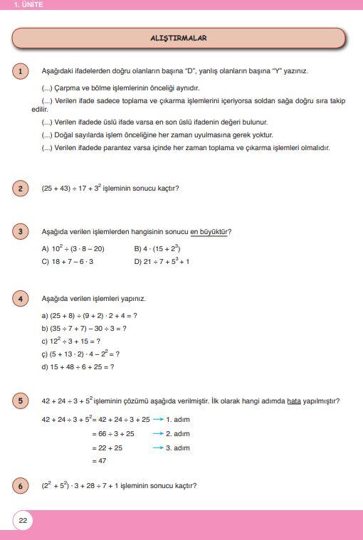 6. Sınıf Matematik Ders Kitabı Çözümleri ve Cevapları Sayfa 22 Öğün Yayınları