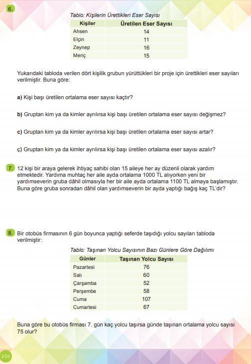 6. Sınıf Matematik Ders Kitabı Çözümleri ve Cevapları Sayfa 250 MEB Yayınları